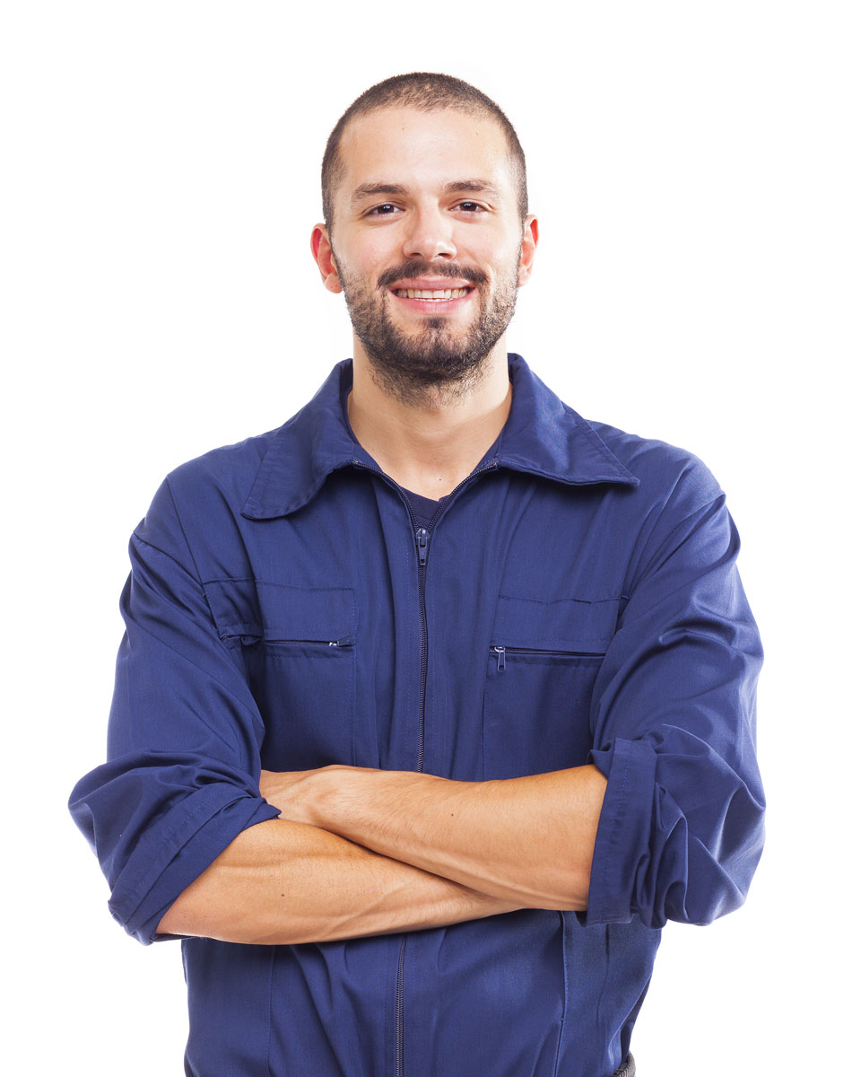Smiling printer technician