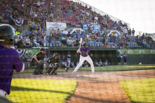Boise Hawks baseball team member at bat
