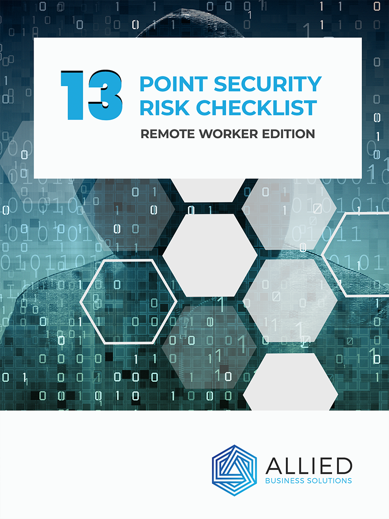 13 point security risk checklist ebook with text. Remote worker edition